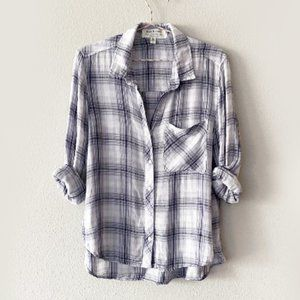 Anthropologie Cloth & Stone Plaid Top M